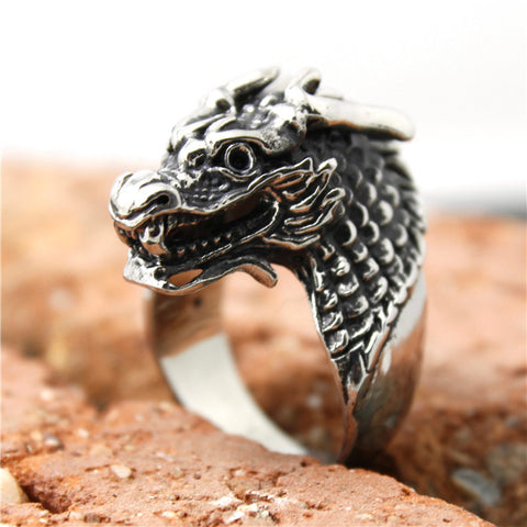 2015 Newest Ring 316L Stainless Steel Mens Biker Dragon Ring Top Quality - onlinejewelleryshopaus