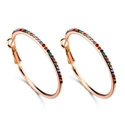 Brand Jewelry Rose Gold Plated Colorful Austrian Crystal Hoop Earrings for Woman - onlinejewelleryshopaus
