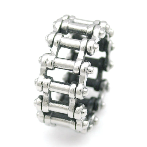 Fashion Punk Silver Biker Chain Ring For Men Stainless Steel Cool Rock Style Jewelry Charm Men's Nice Party Gifts HR032 - onlinejewelleryshopaus