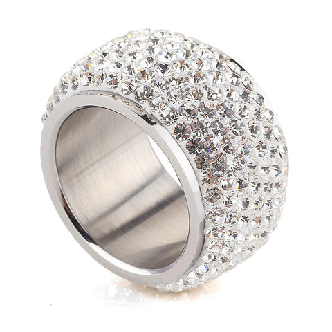 Wholesale High Quality Classic Platinum Plated  Six Row Crystal Jewelry  Wedding Ring FREE SHIPPING! - onlinejewelleryshopaus