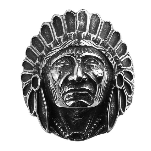 NEW Fashion Titanium Vintage Stainless Steel Native American Men's Large Indian Apache Chief Biker Ring Wholesale - onlinejewelleryshopaus