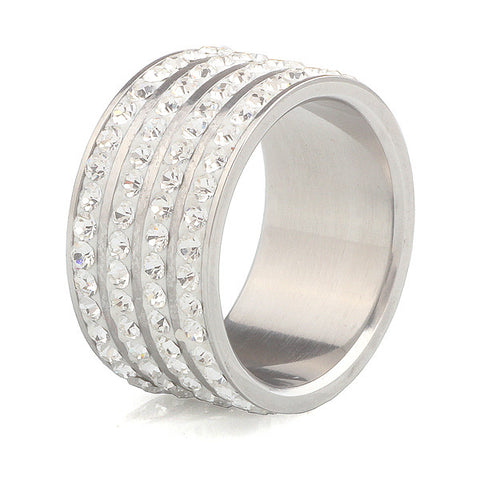 Fashion Crystal rings for women men wedding ring stainless steel jewelry - onlinejewelleryshopaus