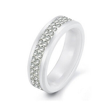New Design 2 Row Clear Crystal white ceramic ring for men women - onlinejewelleryshopaus