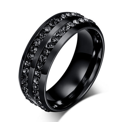 factory price Black Gun Plated Crystal rings for women and men stainless steel wedding ring vintage jewelry - onlinejewelleryshopaus