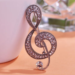 2015 Fashion Vintage Music Note Brooches Hat Accessories Scarf Clip Antique Silver Plated Rhinestone Crystal Women Broche Broach - onlinejewelleryshopaus
