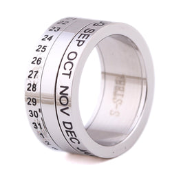 Number and Month Letter Rotatable rings for men anillos Titanium Stainless Steel Punk Party Ring Jewelry - onlinejewelleryshopaus