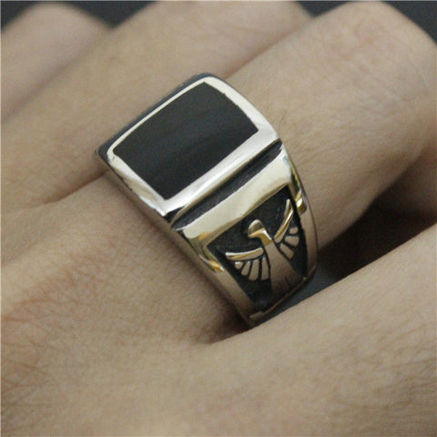 2016 Biker Eagle Ring Mens TV Shows Agent S.H.I.E.L.D. Ring With Black Stone Ring 316L Stainless Steel Jewelry - onlinejewelleryshopaus