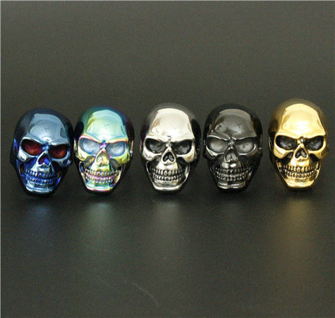 Charming Colorful Skull Ring Big Huge Ghost Skull Ring 316L Stainless Steel Men Boys Polishing Biker Ring - onlinejewelleryshopaus