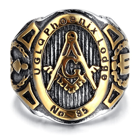 Mens Stainless Steel Ring, Vintage, Biker, Gold, Black, Masonic KR2042 - onlinejewelleryshopaus