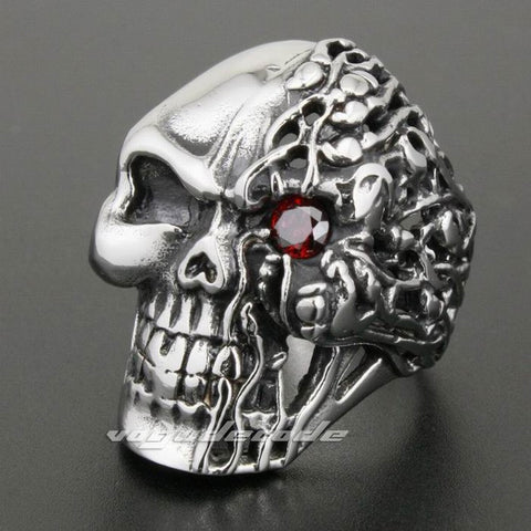 Red CZ Eye Solid 316L Stainless Steel Skull Mens Biker Rocker Punk Ring 2N001 US Size 7 to 14 - onlinejewelleryshopaus