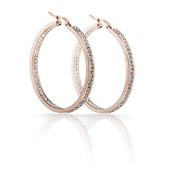 Free Shipping Classic Stainless Steel Rose Gold Plated Crystal Hoop Earring for women - onlinejewelleryshopaus