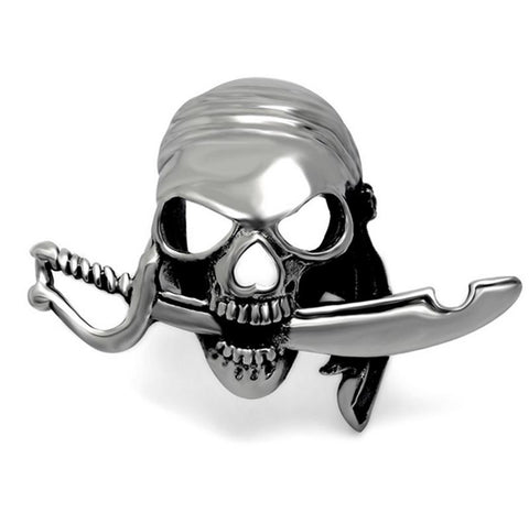 316 Stainless Steel Men's Pirate Skull Rings Gothic Punk Style Vintage Biker Man Jewelry Men's Mysterious Pirate Skull Ring - onlinejewelleryshopaus