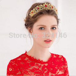 Hot sale New Fashion Elegant Red Crystal Bridal crown classic Gold Tiaras for Women Wedding hair jewelry accessories wholesale - onlinejewelleryshopaus