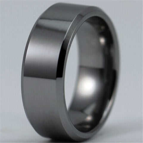 Free Shipping Hot Sales 8MM Width Shiny Bevel Custom Ring Blank Ring New Men's Fashion Tungsten Wedding Ring - onlinejewelleryshopaus