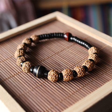 Wholesale Ethnic Natural Coconut shell With Rudraksha Tiger eye Beads Bracelet Unisex Healthy Jewelry Tibetan Stretch Bracelet - onlinejewelleryshopaus