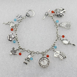 2016 Alice in Wonderland Bracelets&Bangles Cat/Mad Hatter/Rabbit with Blue and Red Crystals Antique Silver DIY Charm Bracelets - onlinejewelleryshopaus