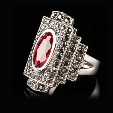 Jenia Antique Red Austrian Crystal Ring with Marcasite Stones High Quality Retro Gold Plated Ring Jewelry for Women XR306 - onlinejewelleryshopaus