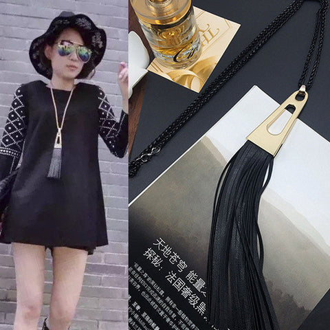 2015 New Arrival Women Pendant Necklaces The New Sweater Chain Fringed Leather Fringed Long Necklace Pendant Jewelry All-match - onlinejewelleryshopaus
