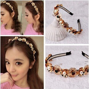 2014 Europe and USA Style  Simulated Pearl Hairbands Hoop For Hair Flowe Hair Accessories Hair Jewelry For Women   F103 - onlinejewelleryshopaus