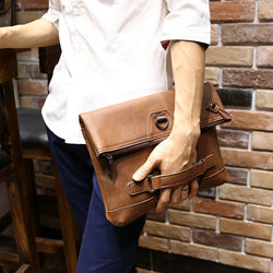 New Vintage Men Crazy Horse PU Leather Designer Tote Handbag Men's Large Capacity Fashion Brown Envelope Clutch Bag Shoulder Bag - onlinejewelleryshopaus