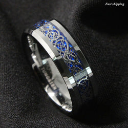 8mm Silvering Dragon Tungsten Carbide Ring Mens Jewelry Wedding Band Free Shipping - onlinejewelleryshopaus