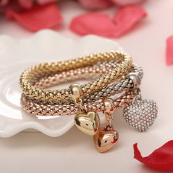 2016 New Fashion 3pcs/set Gold Silver Rose Gold Crystal Heart Elasticity Bangles Bracelets For Women Jewelry Wholesale pulseras - onlinejewelleryshopaus