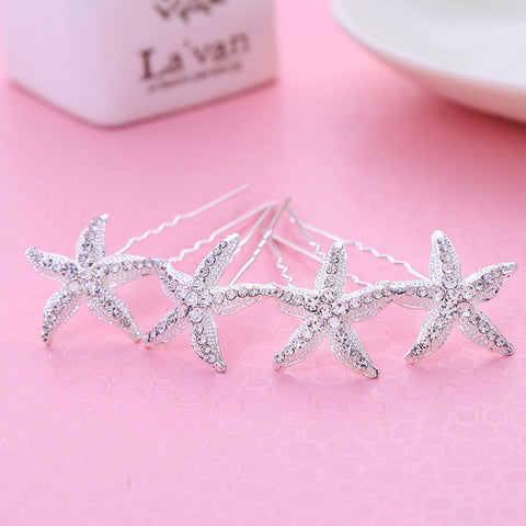 12pcs/lot Rhinestone Sea Star Hairpins Starfish Hair Pins Crystal Clips for Hair Jewelry Wedding Hair Accessories Bridal Hairpin - onlinejewelleryshopaus