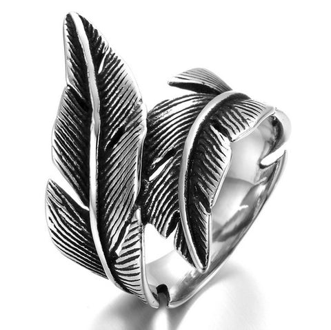 Stainless Steel Men's Ring , Color Black Silver, Biker, Feather, Vintage - onlinejewelleryshopaus