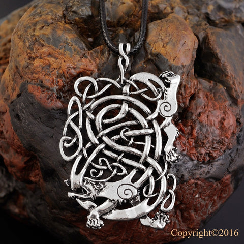 1pcs Norse Vikings Pendant Necklace Norse Charm The Ringerike Dragon Scandinavian Pendant Necklace Norse Jewelry - onlinejewelleryshopaus