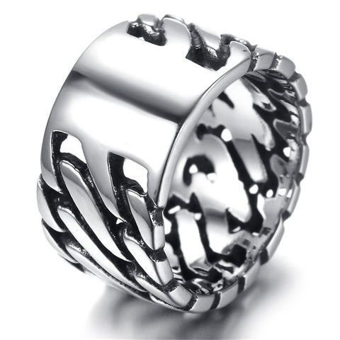 Fashion Spinner Black Chain Ring  Men Stainless Steel Wedding Mens Ring Wholesale Cool Jewelry  Motor Biker Ring Motorcyclists - onlinejewelleryshopaus