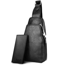Leather Men Messenger Bag Practical Crossbody Shoulder Bag with Wallet