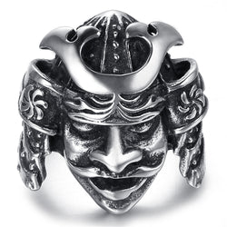 NFS Luxury Brand Men Rings Stainless Steel Men Jewelry Rings Japanese Bushido Samurai Helmet Warrior Punk Rings For Women - onlinejewelleryshopaus