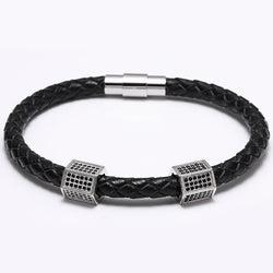 Black CZ Paved Royal Double Crown Rectangle Zircon CZ Micro Paved Genuine Leather Bracelet Oxhide Cow Real Leather Bracelets - onlinejewelleryshopaus