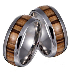 Vintage Wood Grain Mens Ring Titanium Stainless Rings Unisex