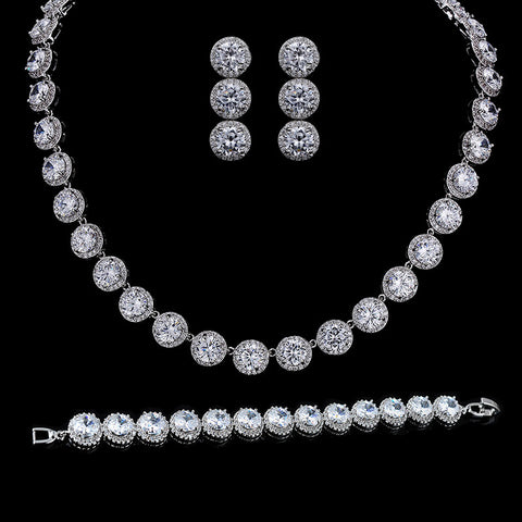 New Fashion Classic Round Top AAA Cubic Zirconia Collar Necklace Bridal Jewelry Sets - onlinejewelleryshopaus