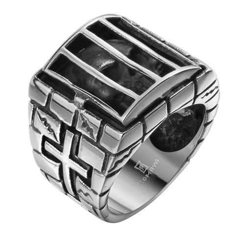 Mens Silver Black IRON men ring personality Antique skull cage stainless steel ring cross 316L Stainless Steel Ring - onlinejewelleryshopaus