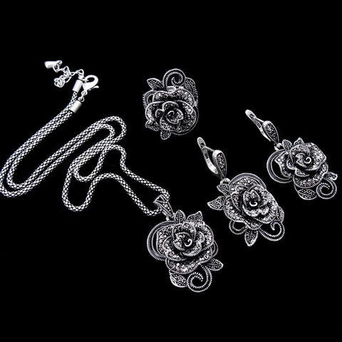 HENSEN Antique Silver Plated Jewellery New Fashion Vintage Black Crystal Flower Pendant Necklace Set Women Jewelry Sets - onlinejewelleryshopaus