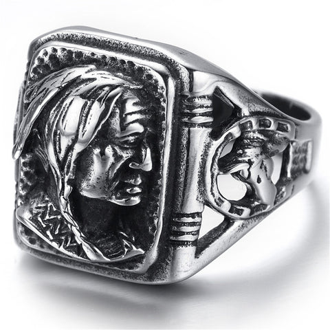 Mens Stainless Steel Ring, Biker, Silver, Black, Indian, KR2222 - onlinejewelleryshopaus