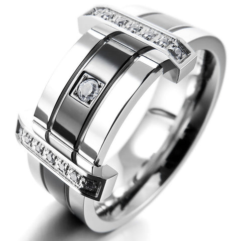 Men's Stainless Steel Rings Band CZ Silver Black Wedding Charm Elegant Free Shipping - onlinejewelleryshopaus