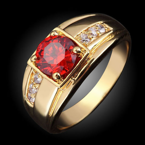 2016 Suohuan Super Male Ruby Jewelry Garnet Men Ring CZ diamond 18 K Gold  jewelry Rings for men Ring  R057 - onlinejewelleryshopaus