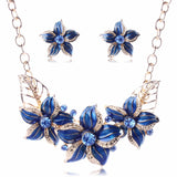 Fashionable Jewelry Sets For Women 2016 Gold Color Statement Rhinestone Flower Necklace Earring Set Charm Accessories TL94021 - onlinejewelleryshopaus
