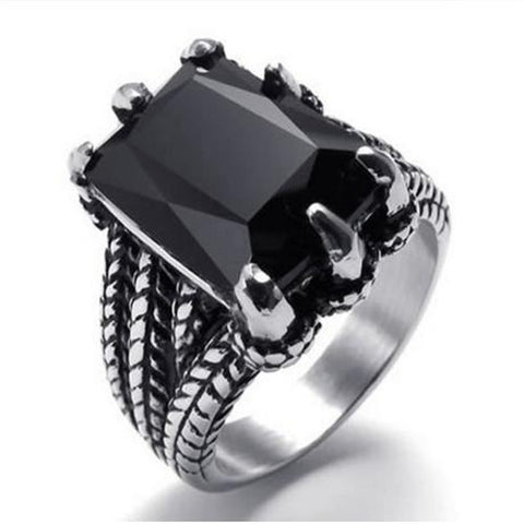 Biker Gothic Dragon Claw Stainless Steel Men's Ring, Black Silver - onlinejewelleryshopaus