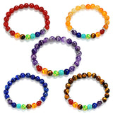 8mm Colorful 7 Chakra Sone Natural Agate Amethyst Colorful Beads bracelet Yoga Energy Healing Bracelets  For Woman  Man For Gift - onlinejewelleryshopaus
