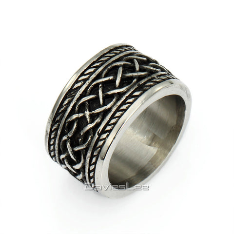 15mm Punk Engraved Irish Knot Mens Black Silver Tone Band Ring 316L Stainless Steel Ring  US Sz 7-13 LHR55 - onlinejewelleryshopaus