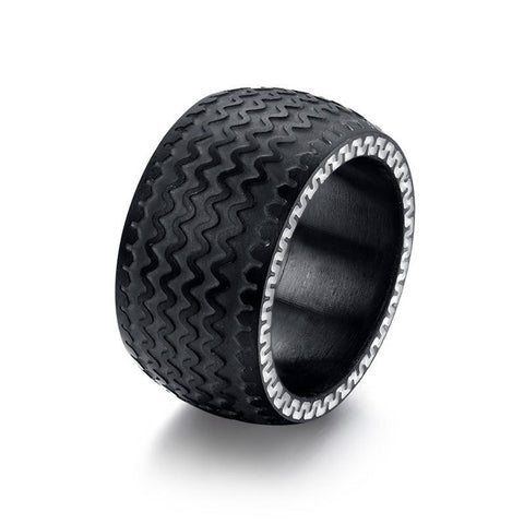 ORSA JEWELS Fashion 2016 High Quality Black Tyre Ring Titanium Steel Large Cool Men Ring Jewelry OTR43 - onlinejewelleryshopaus