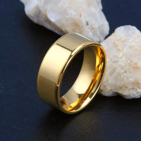 gold color Male Wedding Band Tungsten Carbide Ring 8mm Man Women Anniversary Jewelry Size 6  7 8 9