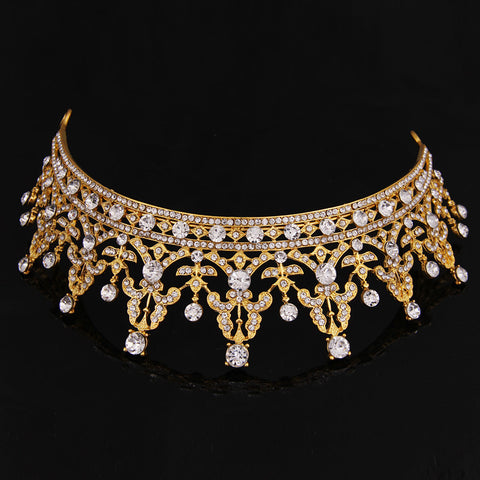 Hot Sale Europe Royal Gold Tiaras Fashion Crystal Drill Bride Hair Accessories Fashion Hair Jewelry 2016 Fashion Newest Hairwear - onlinejewelleryshopaus
