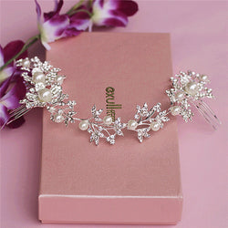 Silver Rhinestone Pearl Hair Jewelry Floral Bridal Headband Tiara Long Comb Wedding Hair Accessories Headbands - onlinejewelleryshopaus