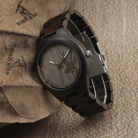 BOBO BIRD I26 Unisex Deer Head Styles Ebony Wood Watches Men's Luxury Brand Clock Women Watch Nature Wooden Wristwatches Relogio - onlinejewelleryshopaus