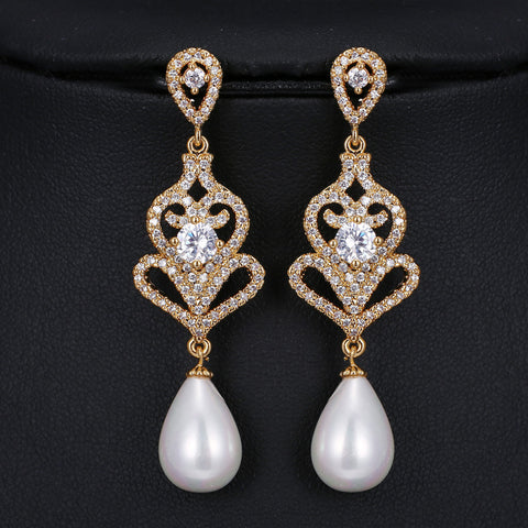 HSIC Drop Shipping Vintage Style Gold Plated Micro Zircon Paved Freshwater Pearl Drop Bridal Earrings for Wedding Hot Jewelry - onlinejewelleryshopaus